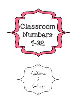 Multicolored Classroom Numbers 1-32 - Large (4 per page)