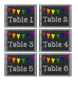 Chalkboard Pennant Table Labels