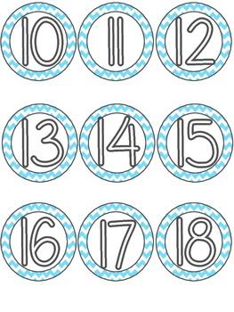 Classroom Numbers - Light Blue Chevron