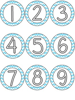 Classroom Numbers - Light Blue Chevron