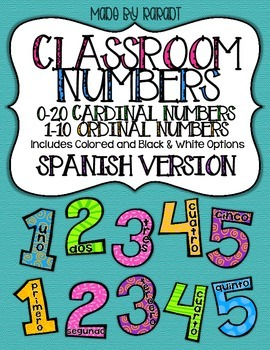 Classroom Numbers SPANISH VERSION {Cardinal Numbers 0-20 & Ordinal Numbers 1-10}