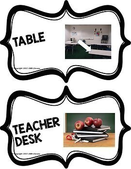 Classroom Object Card Labels!  Great for ESL Students!