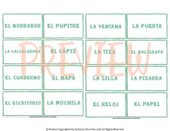 Las Etiquetas: Los Objetos en la Sala de Clase / Labels: Classroom Objects