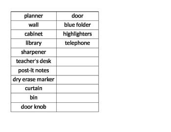 Classroom Object Labels ESOL ELL ESL (Editable)
