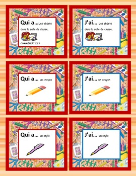 Classroom Object Qui a...J'ai Game for the Whole Class--In FRENCH !
