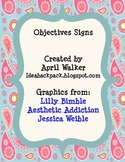 Classroom Objective Signs