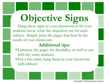 Classroom Objective Signs by Subject