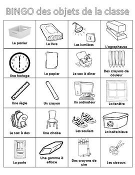 Classroom Objects BINGO in French