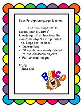 Los objetos del salón de clase Bingo / Classroom Objects Bingo