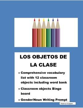 Objetos de Clase- Color Bingo Game/Gender/Noun-Classroom Objects