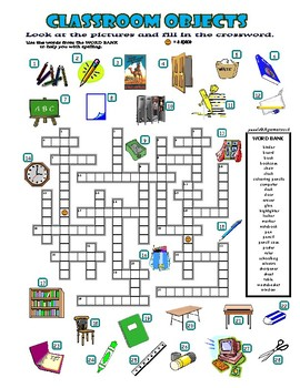 Classroom Objects - Crossword Puzzle with Pictures (Back to School)