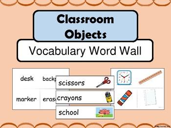 Classroom Objects ESL Vocabulary Word Wall