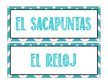 Classroom Objects Labels in Spanish - Chevron Theme