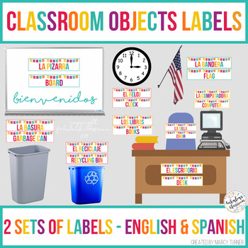 Classroom Objects Labels In Spanish And English Tpt