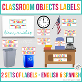 Classroom Objects Labels in Spanish and English