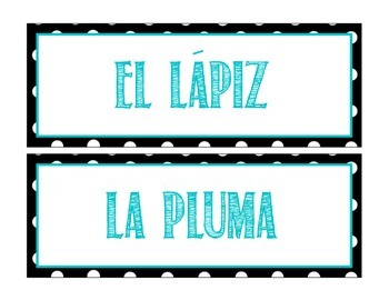 Classroom Objects Labels in Spanish - Polka Dot Theme