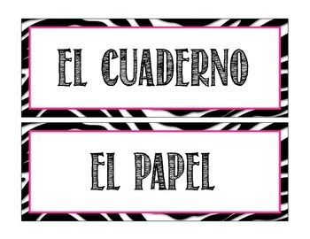 Classroom Objects Labels in Spanish - Zebra Theme