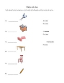 Spanish Classroom Objects Matching Worksheet with Pictures!