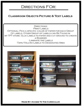 Classroom Objects Picture & Text Labels