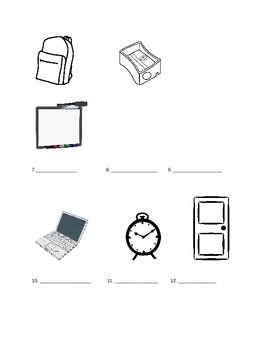 Classroom Objects Practice/Quiz