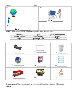 Classroom Objects Quiz
