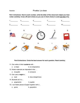 Classroom Objects Quiz - Spanish Objetos de la clase