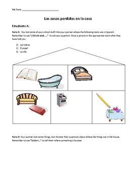 Classroom Objects & Rooms of House Interpersonal Activity in Spanish