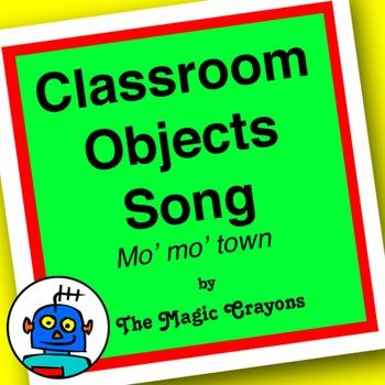 English Classroom Objects Song 2 for ESL, EFL, Kindergarten. Floor, door, window