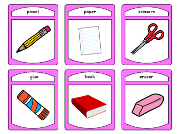 Classroom Objects Spoons Card Game -Classroom Objects Vocabulary in English