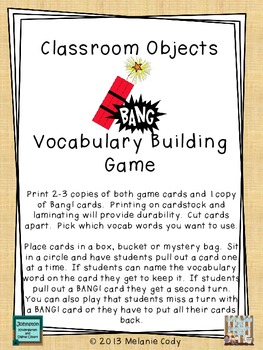 Classroom Objects Vocabulary Game - BANG!