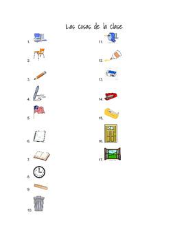 Classroom Objects Vocabulary List