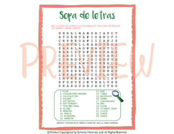 Classroom Objects Word Search