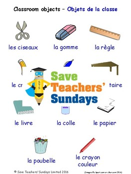 Classroom Objects in French Worksheets, Games, Activities