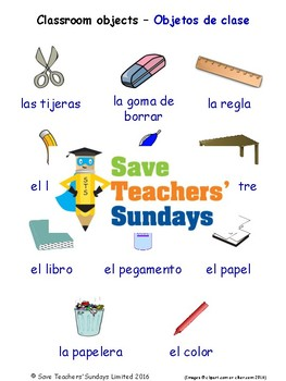 Classroom Objects in Spanish Worksheets, Games, Activities