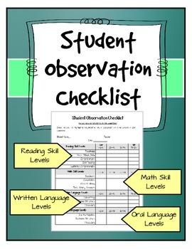 Student Observation Checklist 2 - Teacher or Administrator