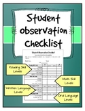Student Observation Checklist 2 - Teacher or Administrator
