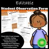 Observation Form for Student Behavior (editable)