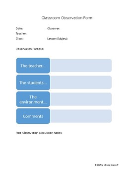 Classroom Observation Form--EDITABLE (Microsoft Word)