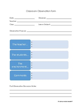 Classroom Observation Form--PRINTABLE