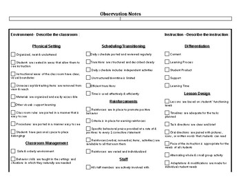 Classroom Observation Notes