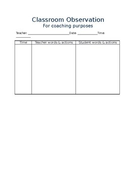 Classroom Observation for Coaching