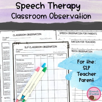Classroom Observation for Speech Therapy {Data Checklist A