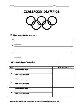 Classroom Olympics Goal Sheet