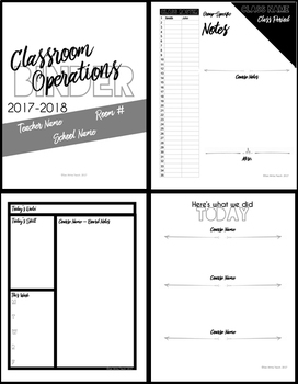 Classroom Operations Binder Pages