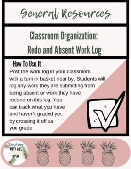 Classroom Organization: Absent and Redo Work Log
