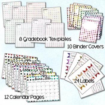 Classroom Organization Bundle with 54 Polka Bokeh Pieces