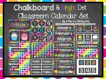 Classroom Organization Bundle (Chalkboard and Bright Dot)