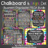 Classroom Decor and Organization Theme Bundle - Chalkboard and Bright Dot