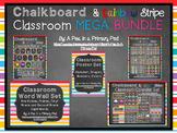 Classroom Organization Bundle Chalkboard and Rainbow Stripe Theme
