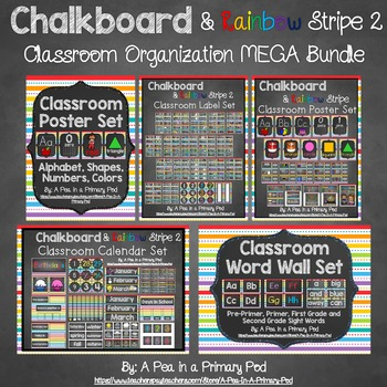 Classroom Organization Bundle (Chalkboard and Rainbow Stripe 2)